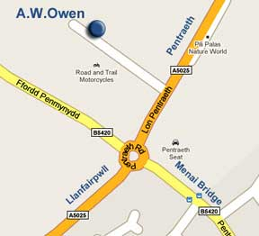 Google Map  A. W. Owen  Premises at Four Crosses Industrial Estate Menai Bridge